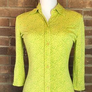 Tibi Lime Green Yellow Flower Dress Size 2 Silk